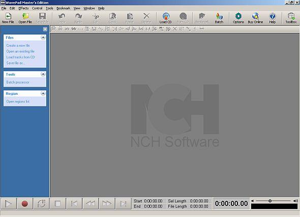 Wavepad main program window