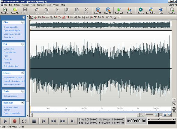 Wavepad with newly opened file