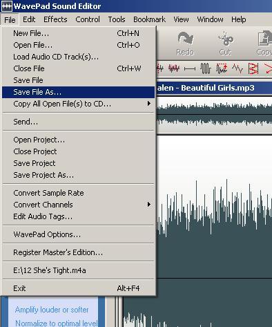 Wavepad - Save File As menu option