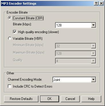 Wavepad MP3 file save settings