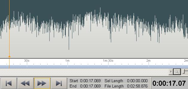 Wavepad - showing edit position